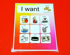 "Use this 8""x11"" PECS board to help your child learn to request items that they want or need.This board comes with 20 PECS symbols. You can use this visual aid also to ask your child ""Do you want milk?                                                                                                                                                     More"