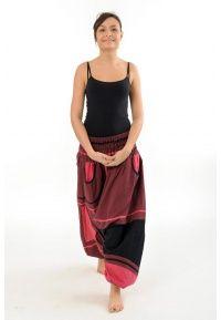 Sarouel élastique Padma - K1312 - 100% pur coton du Népal tissé comme du lin. Idéal pour la mi-saison et l'été. Ce pantalon est unitaille (du 36 au 50)