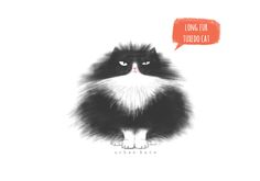 long fur tuxedo cat, cat illustration