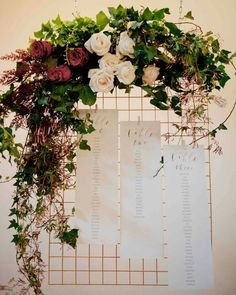 Gorgeous table seating chart for an industrial wedding. ...could use same flowers from ceremony above the door