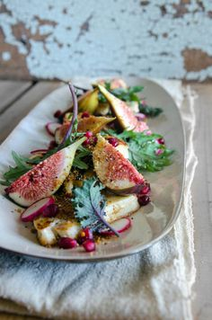 """Pan-fried haloumi, fig + pomegranate"" -- Plus Shengdana lehsun chutney. I think I MUST have this salad from ""heneedsfood."" Click through for recipe and more gorgeous photos."