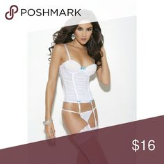 Lingerie: Bustier Mesh bustier with all over gathers, adjustable straps, underwrite cups, hook and eye back closure and satin now detail. Matching G-string, with short veil and bow trim in back. Elegant Moments  Intimates & Sleepwear