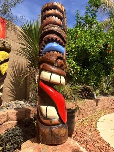 Handcarved Palm tiki  Sealed, heavy Phx az  Hawaiian, luau, Polynesian, party, backyard decorating, Tiki  Check out more tikis in my Facebook page. Stoopid tikis  https://www.facebook.com/Stoopidtikis