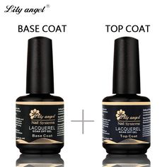 Lily angel 15ML No Wipe Top Coat & Base Coat Long Lasting No Sticky Gel Nail Cover Clean Free Soak Off Nai Gel Polish