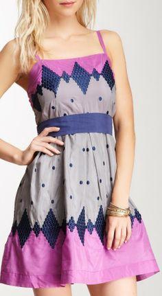 Embroidered Polka Dot Dress