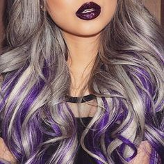 Loving this stunning gray/silver hair with purple streaks running through it from Angela @angexla using @bellamihair 'sterling silver' mixed with 'ash blonde/violet' ombré extensions. More Hair Styles Like This!