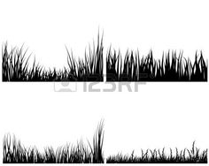 Set of different meadow vector grass silhouettes  Stock Vector