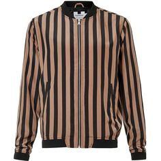 TOPMAN Black and Nude Stripe Lightweight Bomber Jacket (£60) ❤ liked on Polyvore featuring men's fashion, men's clothing, men's outerwear, men's jackets, black, mens lightweight jacket, mens bomber jacket, mens cotton jacket, mens cotton bomber jacket and mens light weight jackets