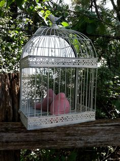 White Mirrored Bird Cage / Shabby Chic Wire Birdcage / Wedding Decor. Via Etsy.