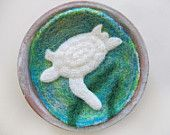 Wool Fiber Art Bowl, Felt Bowl, Needle Felted Whale, Whale Silhouette, Decorative Bowl. $24.00, via Etsy.