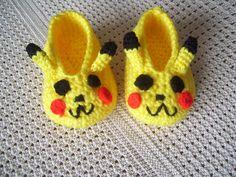 Crocheted Pickachu booties / Babies / Photo Prop / Pokemon. $12.95, via Etsy.