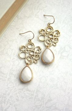 Gold Filigree Chandelier with White Pear Jade Dangle Earrings, Bridesmaid Gift, White and Gold Wedding By Marolsha.