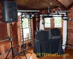 Setup for Jacky and Stephen's wedding reception at the Cazenovia Tennis Club in Cazenovia, NY.  June 2015.