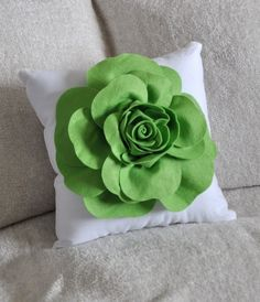 How cute is this?! Large Chartreuse Green Rose on White Pillow. ☺