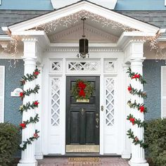 Traditional wreaths and garland are classic for a reason! We love these front door decorations: http://www.bhg.com/christmas/outdoor-decorations/front-door-christmas-decorating-ideas/?socsrc=bhgpin120213traditionalwreathsandgarland&page=18