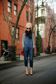 Spring obsession: denim overalls and striped tee. Via Champagne + Sneakers