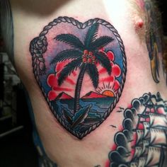 tattoo old school / traditional nautic ink - coconut palm (by Lee Hadfield)