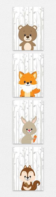 Woodland Kinderzimmer Bilder Set mit 4 verschiedenen Tieren. Bär, Fuchs, Hase und Eichhörnchen. Dieses Set eignet sich hervoragend als Wand Dekoration für ein niedliches Spielzimmer. Ein tolles Geschenk für Eltern und Kinder.