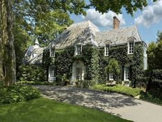 French Country Estate, French Country homes, ivy covered homes, curb appeal