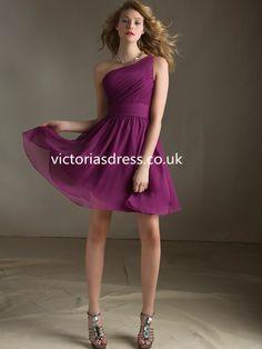 One Shoulder Sleeveless Chiffon Bridesmaid Dress