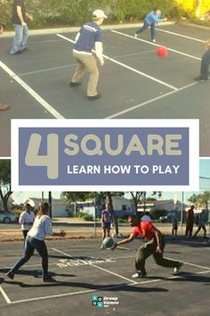 The true beauty of Foursquare is it requires very little equipment to play. All you need is a flat surface, a way to mark out the court, and a ball. Learn the rules and get playing today.  #groupgames #games #groupgames101 #fun #play #outdoorgames #foursquare #4square