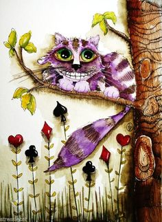 The Cheshire Cat art print Alice in Wonderland Water-color whimsical folk 8 x 10 inch Print, back signed by the artist Lucia Stewart - Stressie Cat Original, eBay <3<3<3