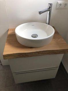 Custom made vanity top in solid wood in oak, ash oak beam, beech . Best Bathroom Designs, Bathroom Design Small, Pine Coffee Table, Attic Storage, Amazing Bathrooms, Bathroom Inspiration, Cozy House, Solid Oak, Diy Furniture