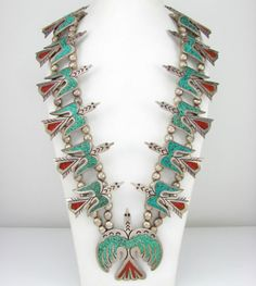 $1220.00 -- Navajo William Singer Sterling Chip Inlay Peyote Bird Squash Blossom Necklace