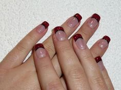 French red with black manicure