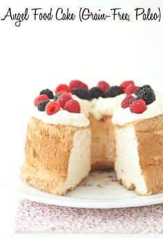 Angel Food Cake (Grain-Free, Paleo) by @CarrieVitt