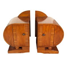 1stdibs | Pair Deco Period Teak Side Tables
