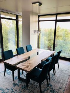 Western maple dining table featuring a rock river, visit us at liveedgedesign.com for more info on our amazing modern home projects. Furniture Making, Wood Furniture, Modern Platform Bed, Home Projects, Modern Contemporary, Home Office, Sweet Home, Dining Table, River