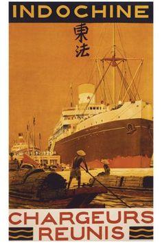 """illustration : affiche de tourisme, """"Indochine, chargeurs réunis"""", paquebot, brun"""