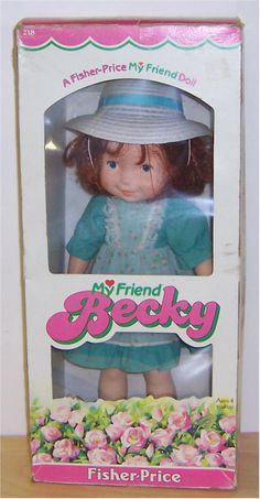 My Friend Becky doll. My sister Becky had this one & I got the My friend Mandy. Fisher Price Toys, Vintage Fisher Price, My Childhood Memories, Childhood Toys, 80s Kids, Vintage Barbie Dolls, Monster High Dolls, Old Toys, Retro