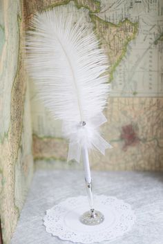 Ostrich wedding feather pen with Swarovski by blingstuffshop, $18.00