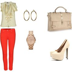 Red Jeans outfit, created by kirankaur05