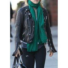 Ali Larter in Burberry Prorsum Quilted Black Leather Biker Jacket
