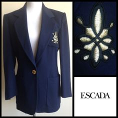 ️Clearance Sale! Escada Vintage Emblem Blazer Classic Vintage Escada Blazer. Navy with gold and black emblem on the breast pocket. 4 gold signature button on sleeves Fully Lined and light padding in shoulders. Measurements available upon request. Escada Jackets & Coats Blazers