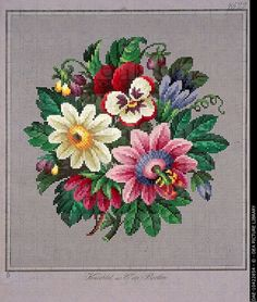 Embroidery, Germany 19th century. Bunch of violets, daisies. DAE-10422854 © DEA PICTURE LIBRARY
