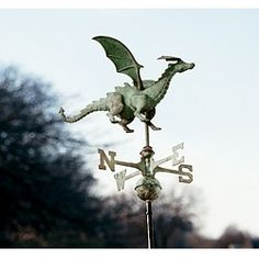 I love the dragon weathervanes. Dragons, Lightning Rod, Weather Vanes, Garden Stakes, Inspired Homes, Windmill, Drake, Exterior, Fantasy