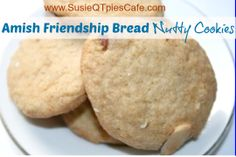 Amish Friendship Bread Nutty Cookie Recipe from SusieQTpies Cafe Friendship Bread Recipe, Friendship Bread Starter, Amish Friendship Bread, Shortbread Recipes, Cookie Recipes, Dessert Recipes, Pennsylvania Dutch Recipes, Amish Bread, Amish Recipes