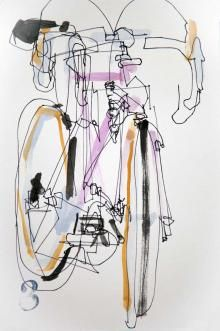 Pink Bike - Blind Drawings with Water Color | Bicycle Paintings, Prints and Custom Bike Art Portraits