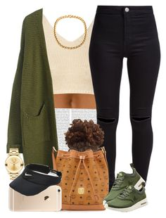 """""""Olive and Cream """" by livelifefreelyy ❤ liked on Polyvore featuring Glamorous, New Look, MCM, NIKE and Movado"""
