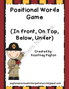 Positional Words Sorting Game (In Front, On Top, Below, Under) Common Core K.G.1 product from MrsPayton on TeachersNotebook.com