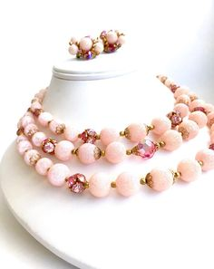 Triple Strand Glass Bead Necklace Earring Set Shades Of Pink
