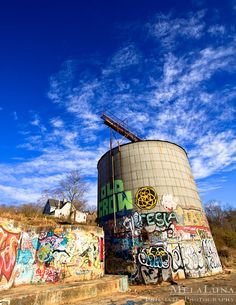 Asheville, NC Urban Photography Old Crow Graffiti Silo River Arts District, Urban Wall Art, Colorful Street Art, Asheville RAD, Cool Silos Old Crow Medicine Show, Ashville Nc, Urban Photography, Asheville, Life Is Good, Graffiti, Street Art, Dragon, Mountain