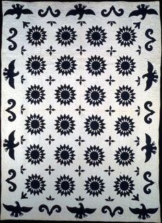 Sunflower with Eagle, Rising Sun  1870-1880  New England Quilt Museum
