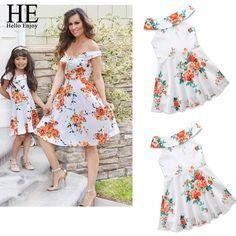 4e27e0f226a Mom   Daughter Dresses Summer Women Off Shoulder Sleeveless Floral family  Clothing