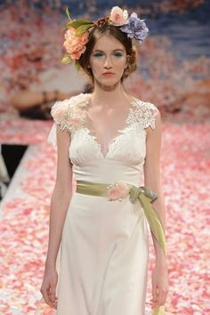 Simple wedding dress with pink flowers and deep v necklline