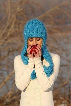 Купить Шапка вязаная Голубое небо Хакасии - бирюзовый, шапка вязаная, шапка женская